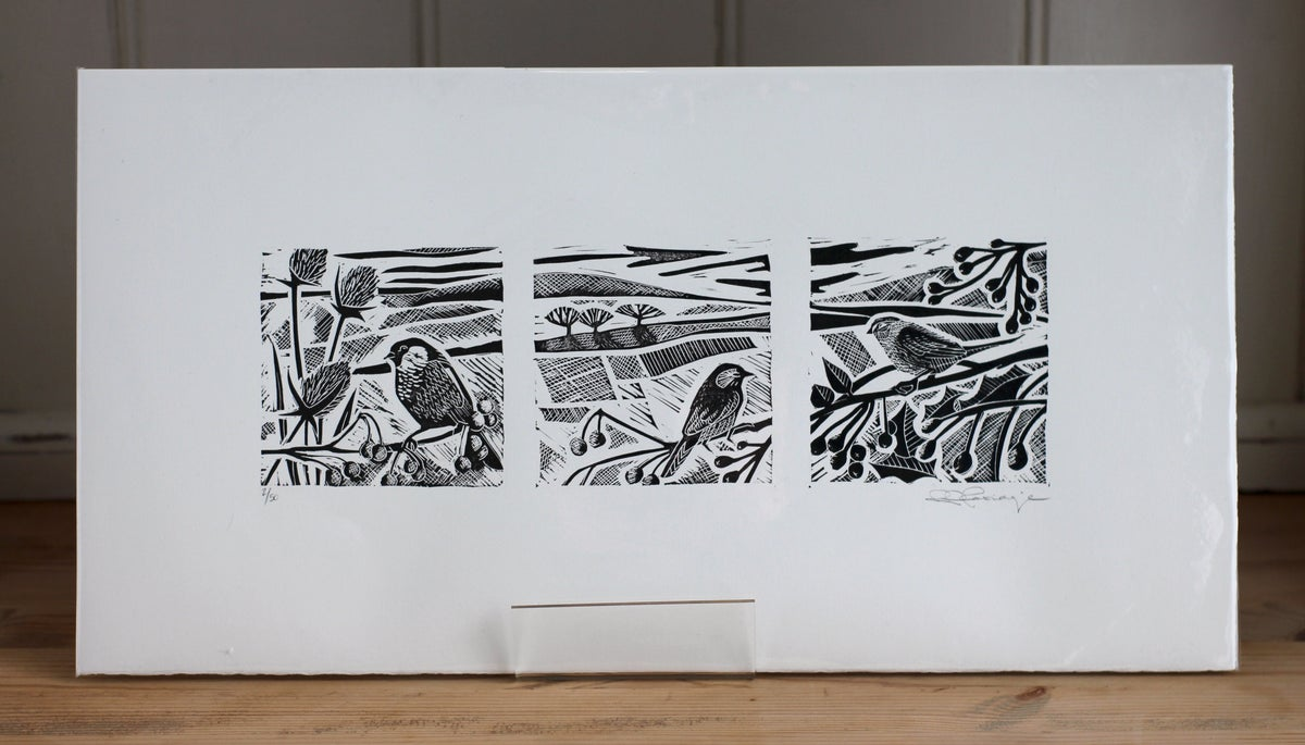Image of Into the holly and the hedgerow limited edition triptych