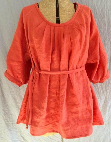 Image of spring poppy linen blouse