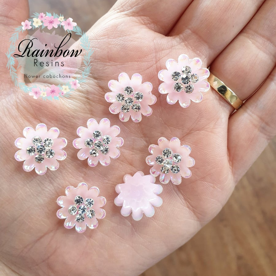Image of Baby pink carnations with diamantes and AB coating x 10