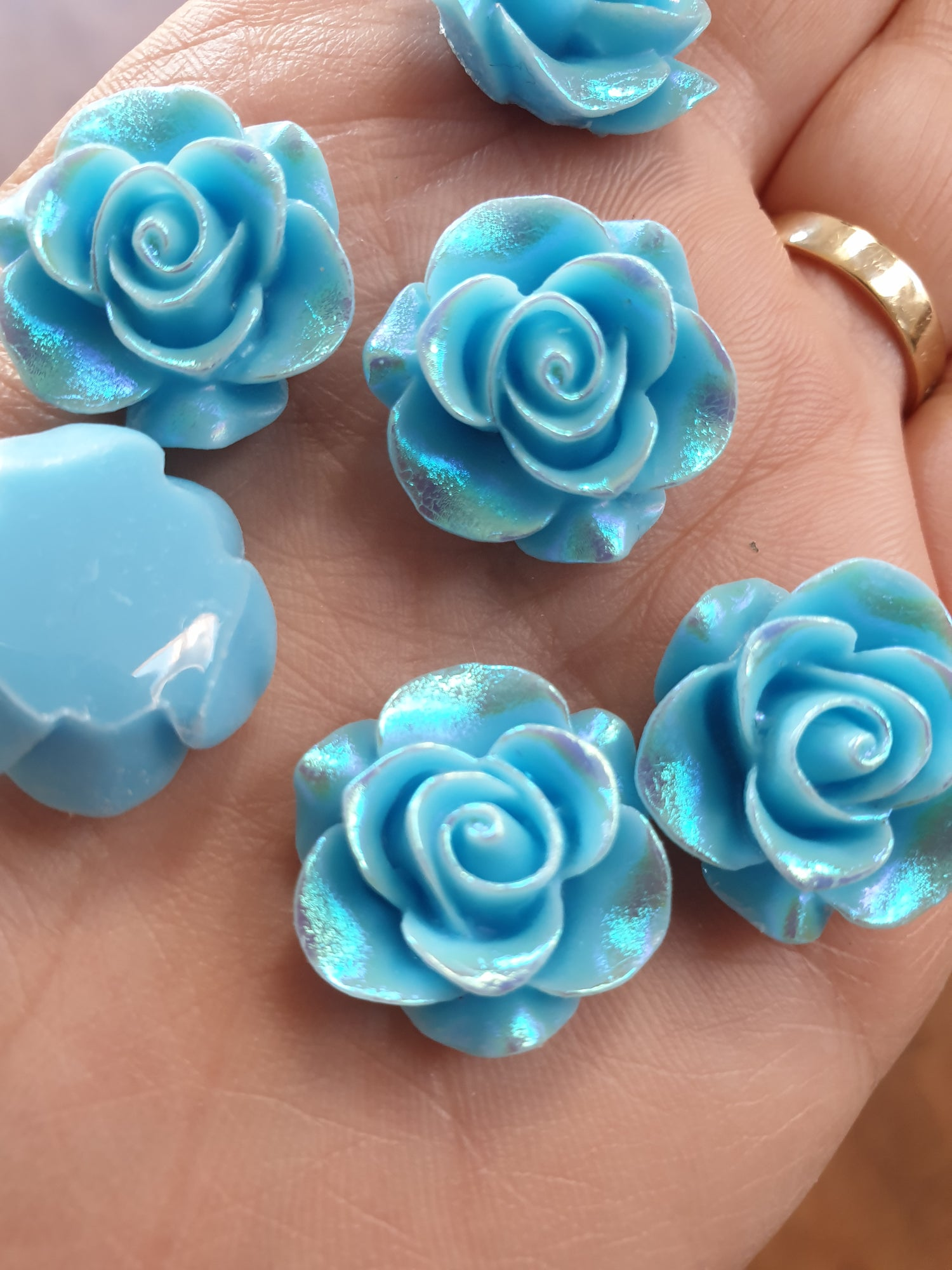 Image of Sky blue roses with an AB coating x 10