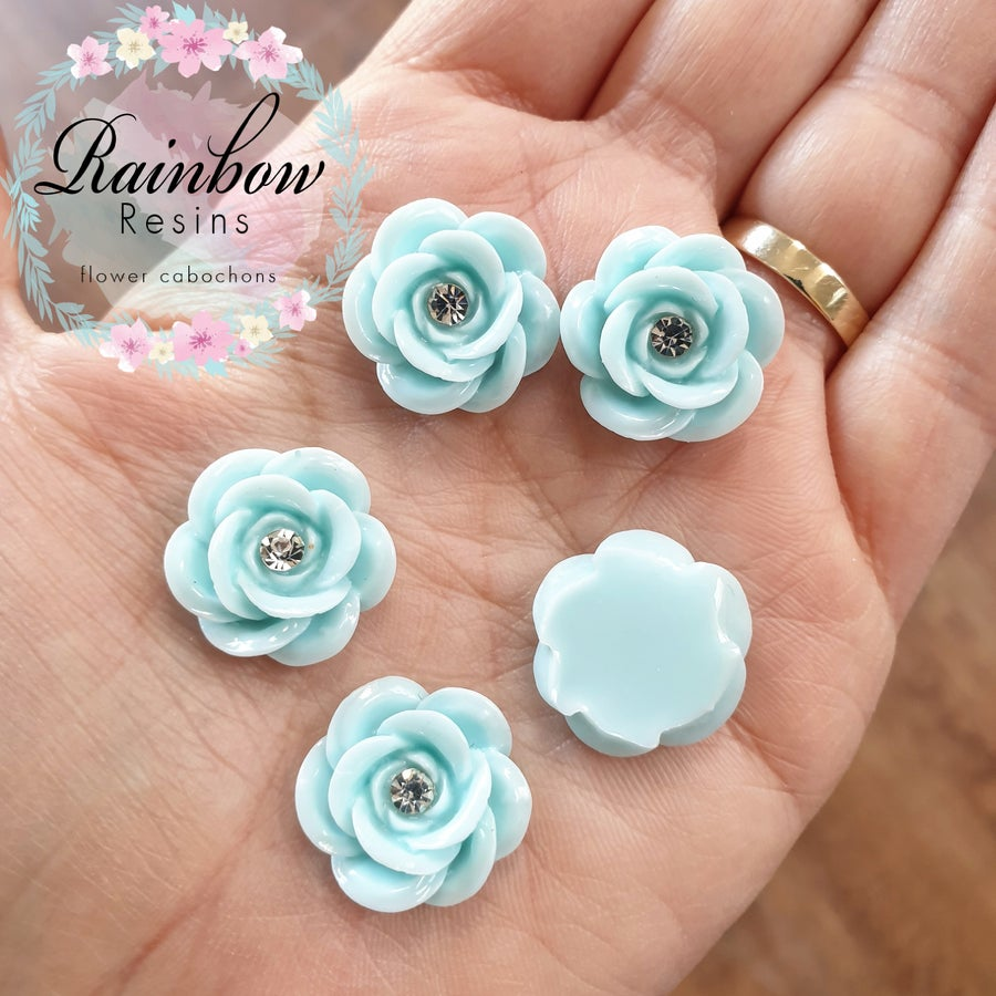 Image of Baby powder blue wild roses with diamantes x 10