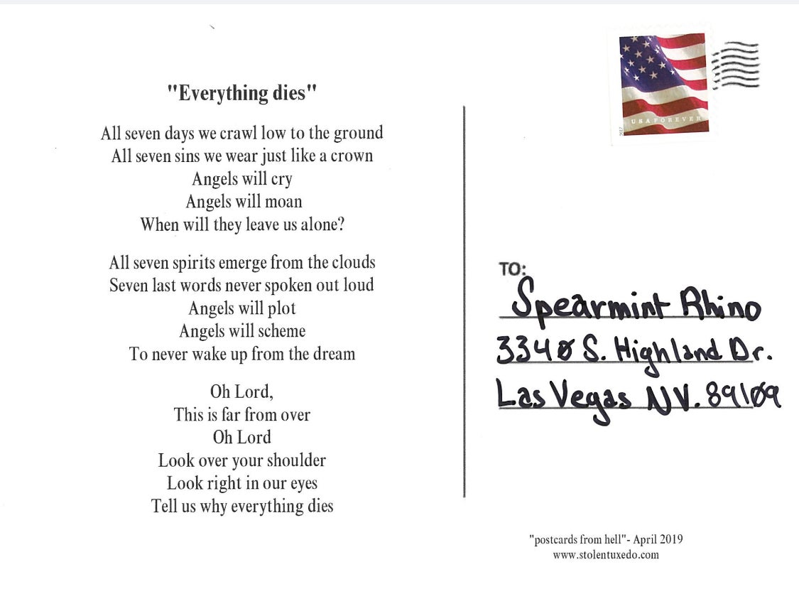 """Image of postcards from hell - """"Everything dies"""""""
