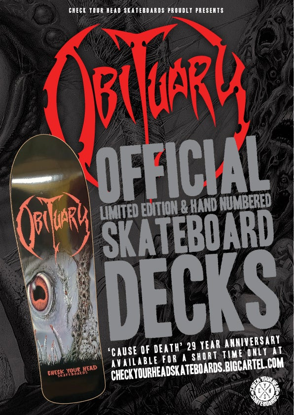 Image of OBITUARY CAUSE OF DEATH skateboard