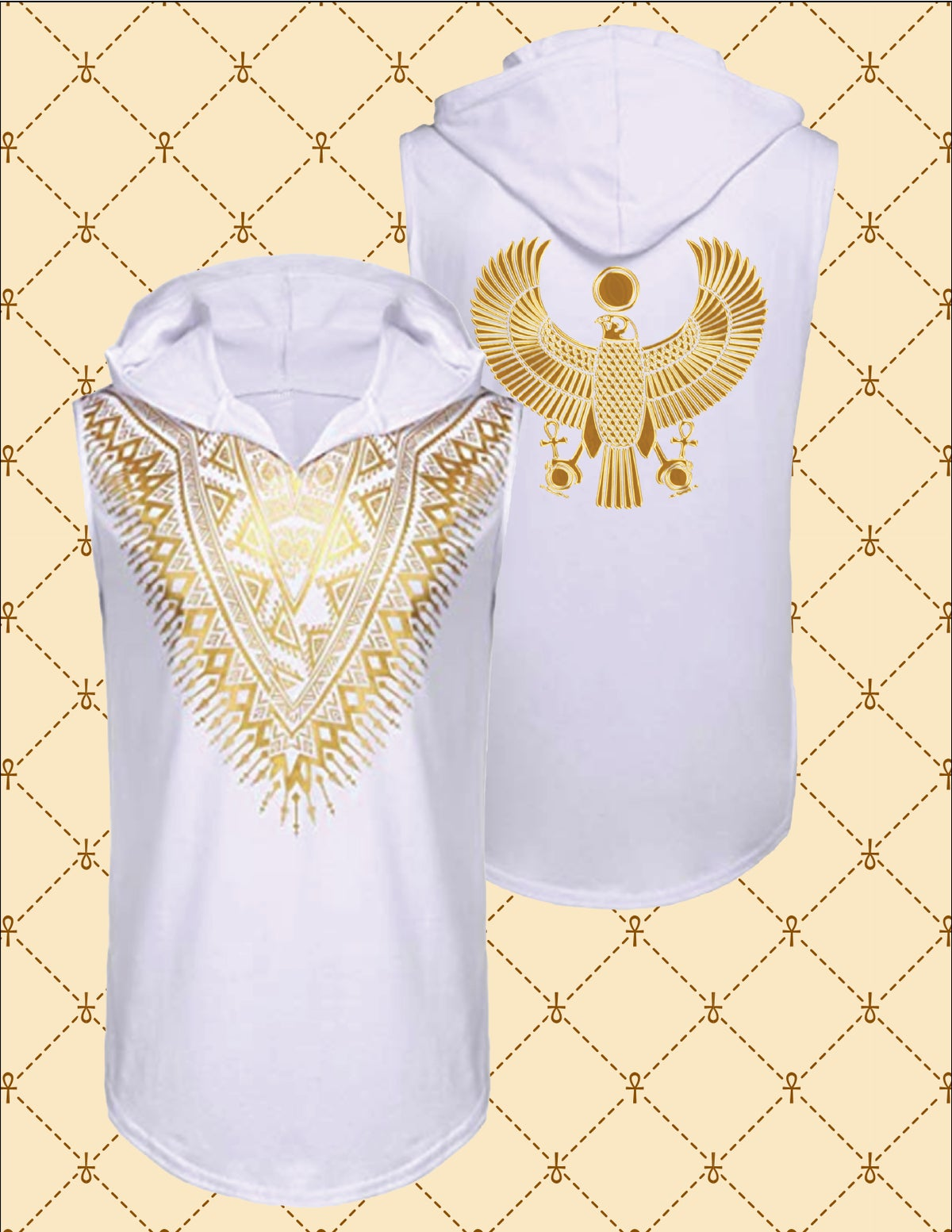 Image of Gold HRU African Dashiki Sleeveless Hooded Shirt