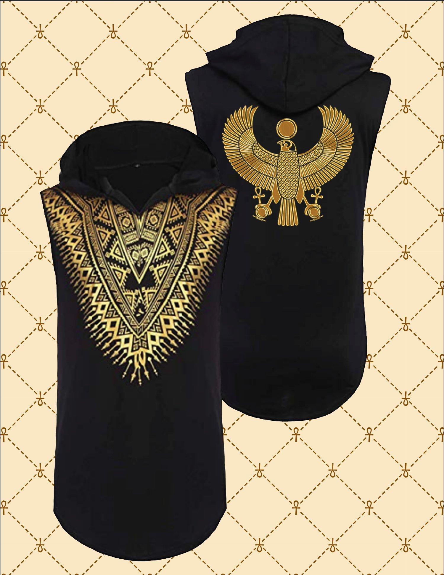 Image of Gold HRU African Dashiki Sleeveless Hooded Shirt