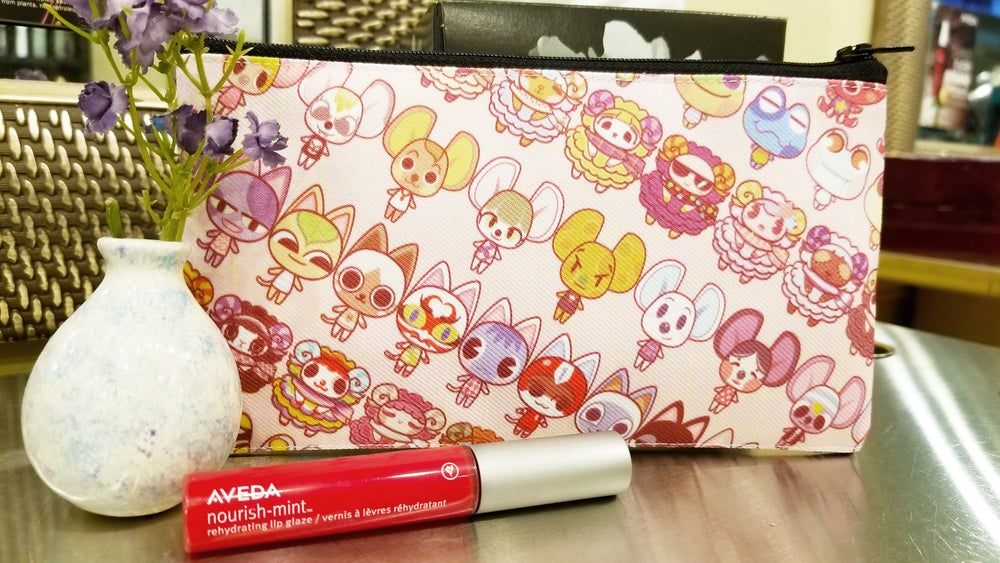 Image of Nintendo ACNL Animal Crossing Fabric Pencil Pouch Cute Pastel Small Zipper Bag