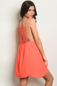 Image of Neon Orange Halter Dress