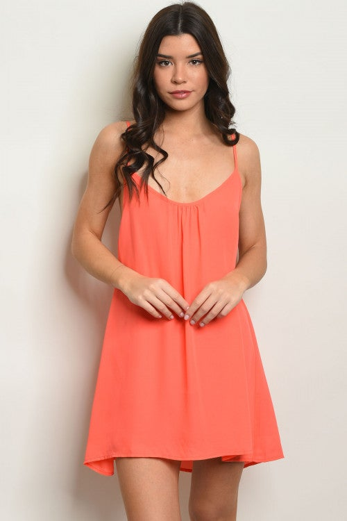 Image of Neon Orange Halter Dress