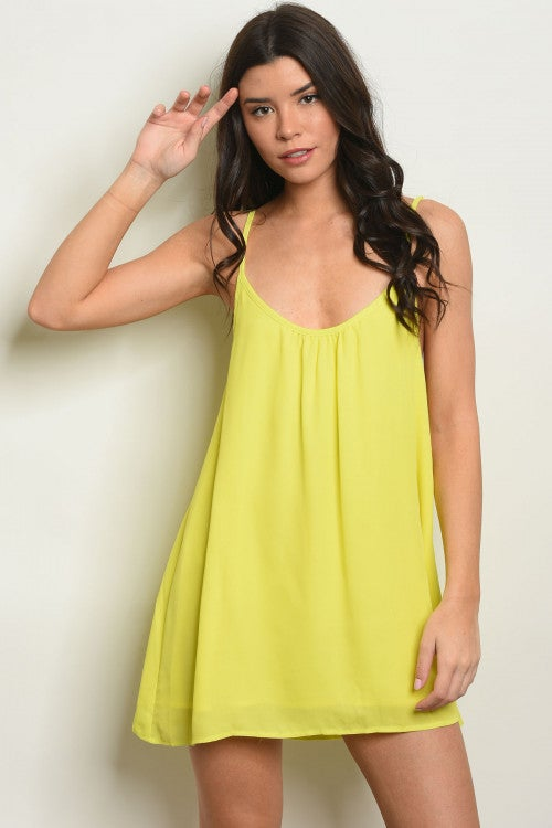 Image of Neon Yellow Halter Dress