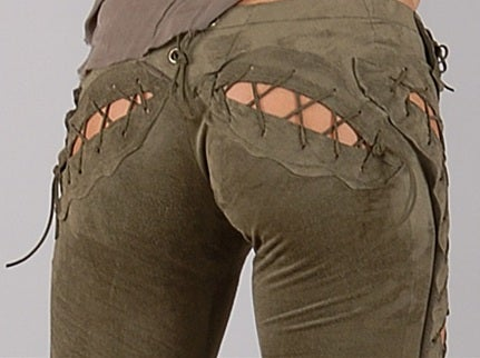 Image of Olive Green Sexy Laced Pants