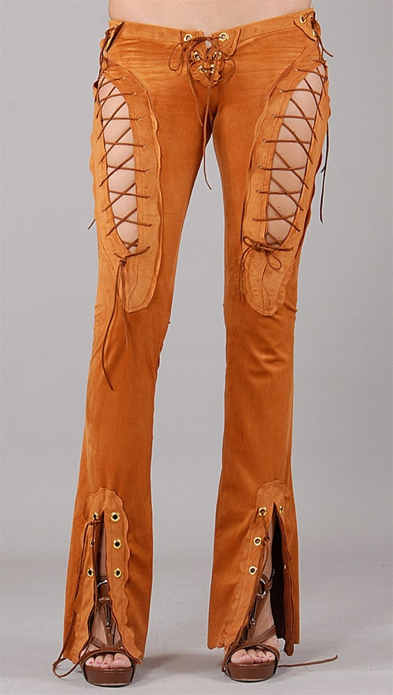 Image of Rust Orange Sexy Lace Pants