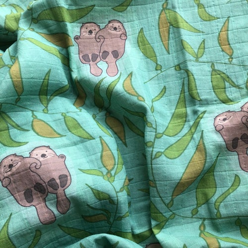 Image of Otters Organic Swaddle Blanket