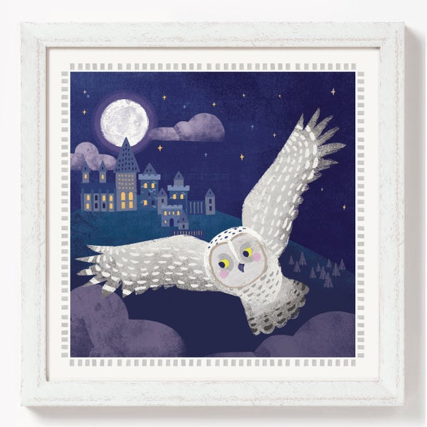 Image of Hedwig at Hogwarts print