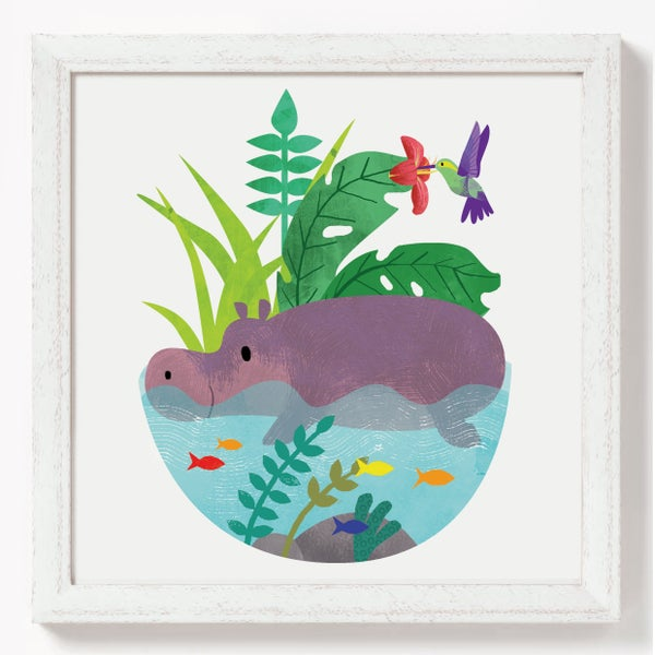 Image of Hippo in Lagoon print