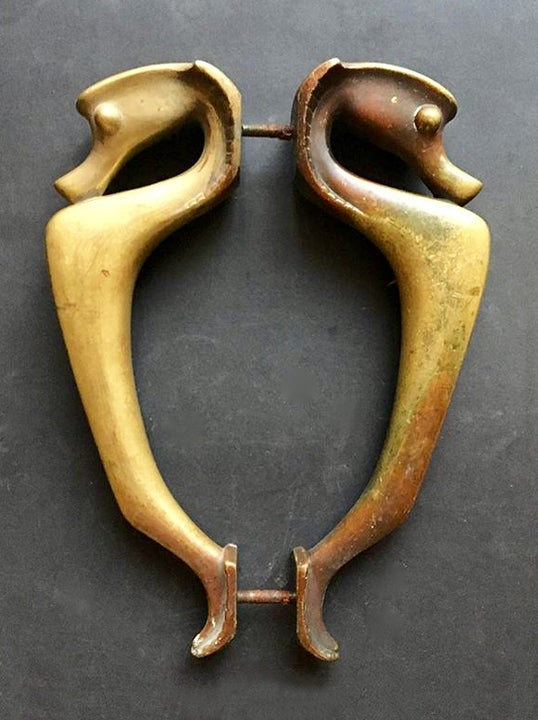 Image of Large Art Deco Door Handles in the Shape of Sea Horses
