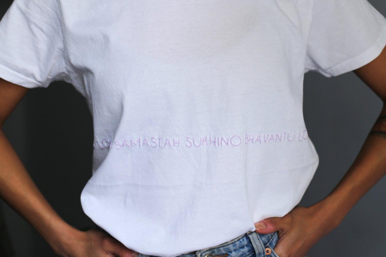 Image of LOKAH SAMASTAH SUKHINO BHAVANTU – wrapped – lilac – white classic t-shirt
