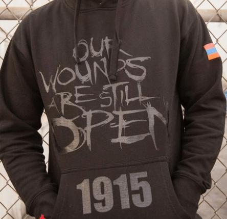 Image of OPEN WOUNDS 1915 - BLACK ON BLACK HOODIE W/ FLAG