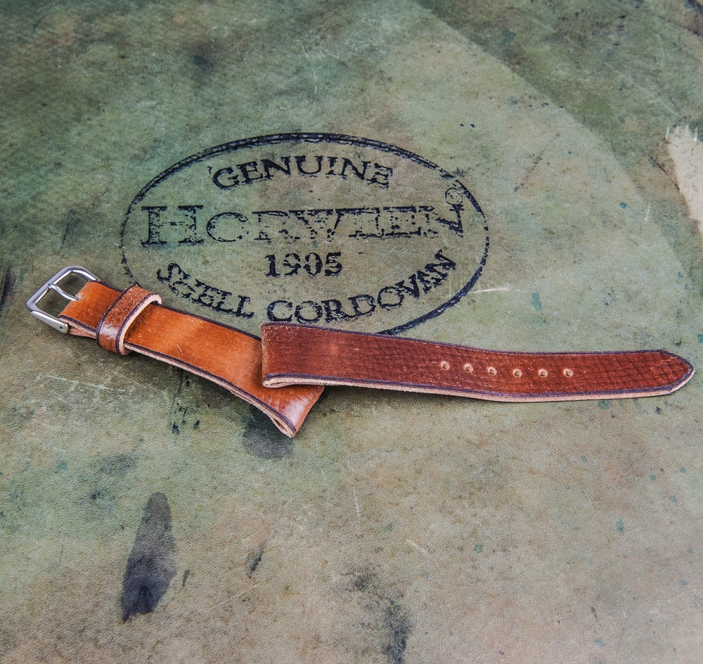 Image of Horween Shell Cordovan classic strap - Russian grain - Bourbon