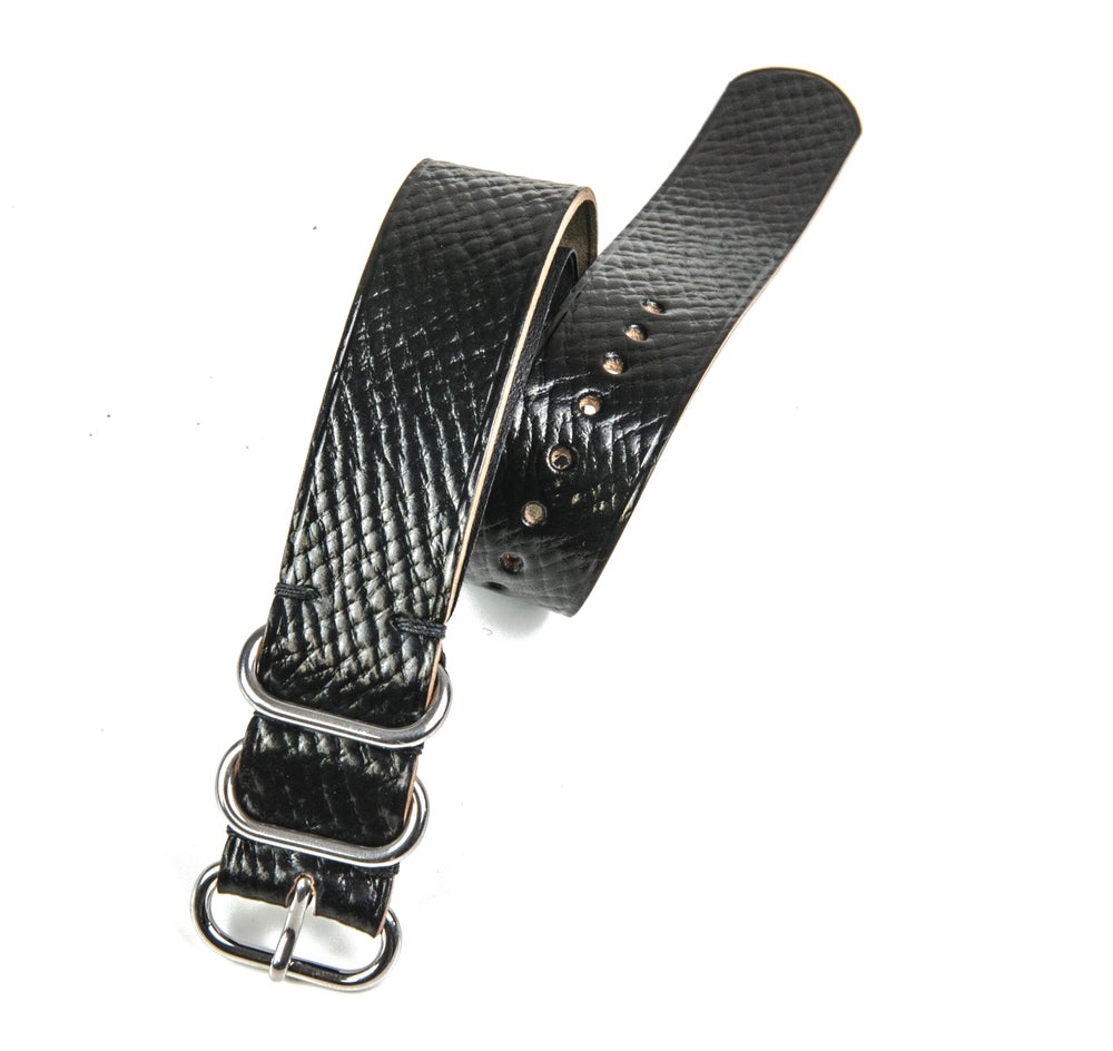 Image of Horween Shell Cordovan NATO Strap - Russian Grain Black