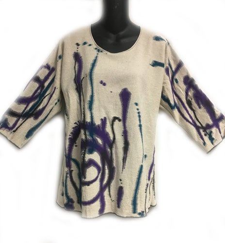 Image of Alison Tunic - Splash Design - 90% cotton/10% linen