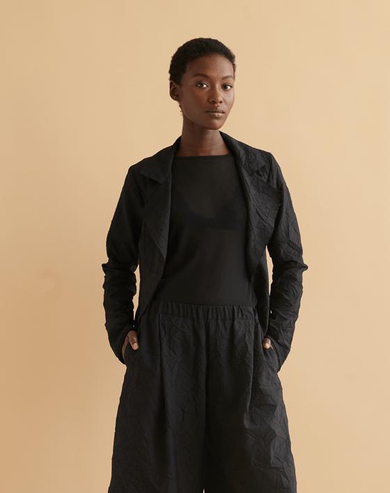 Image of Two Penny jacket in black crinkle