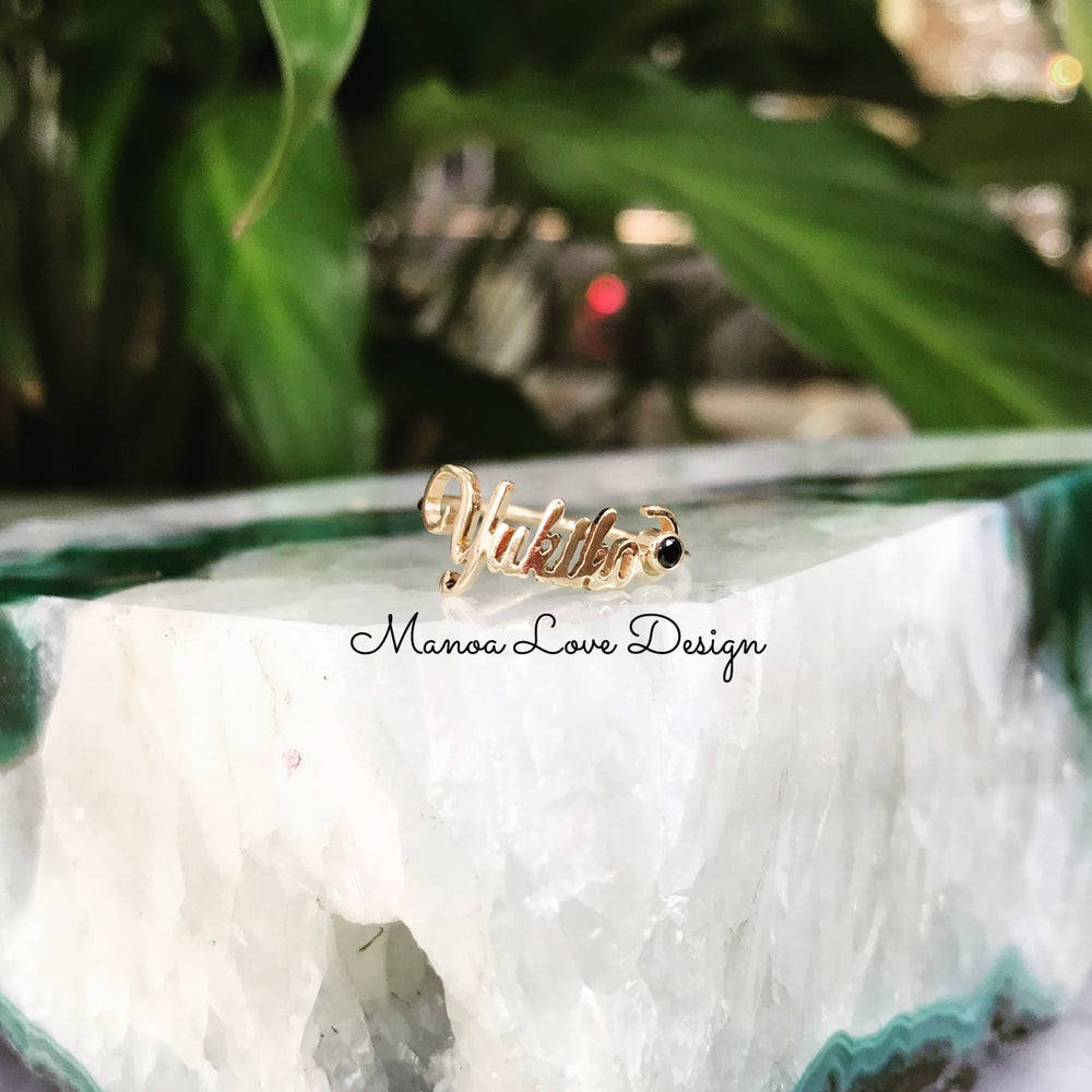 Image of Custom name black diamond ring