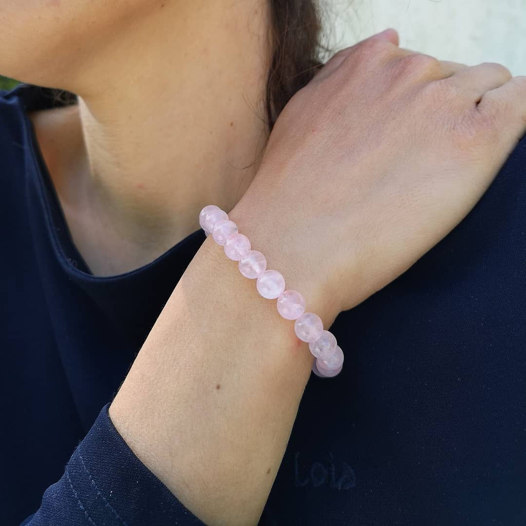 Image of Bracelet en Quartz rose - Taille S