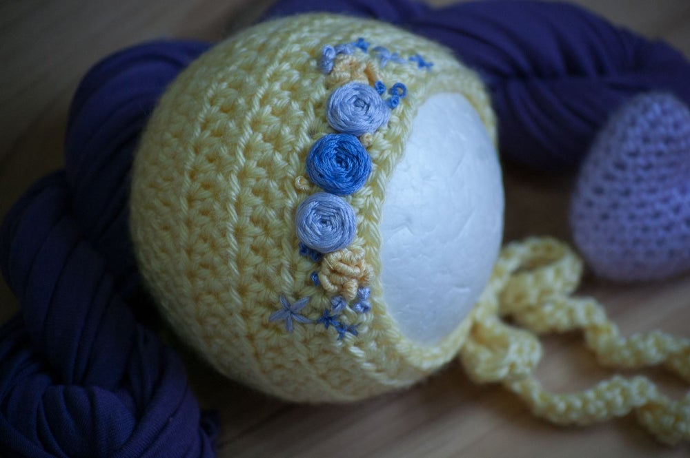 Image of Baby Maize and Purple Embroidery Bonnet