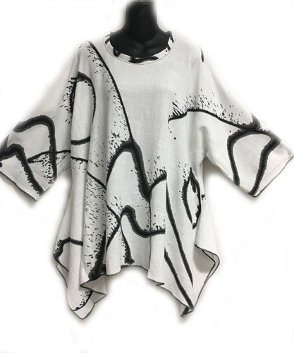 "Image of Joy Tunic - Hand Painted ""Serendipity""  Design - 90% Cotton/10% Linen"