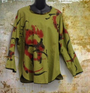 Image of Zena Tunic - 45%Linen/55% Cotton - hand painted