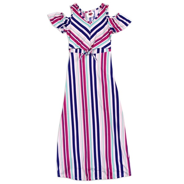 Image of Girls Maxi Polyester Striped Dress