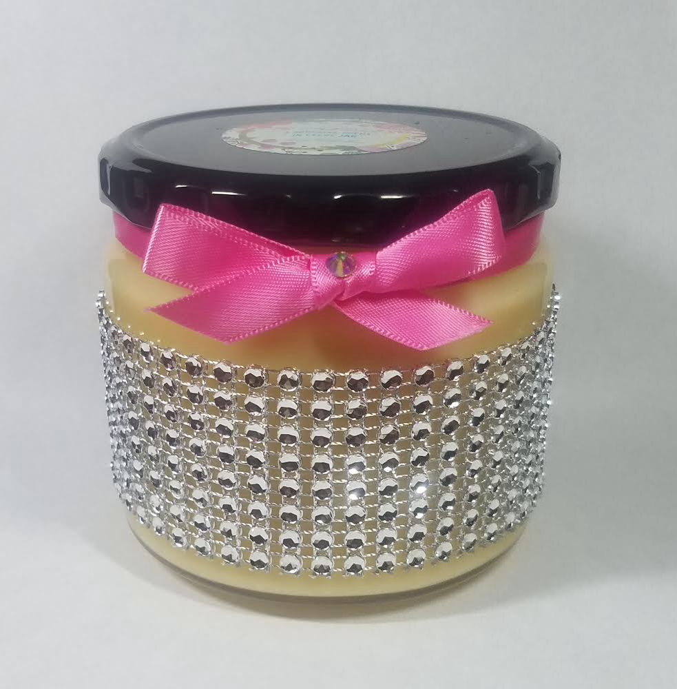 Image of SILVER RHINESTONE GLASS JAR CANDLE - 12oz