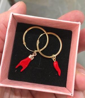 Image of Mono Orecchino oro rosa ciondolo personalizzato