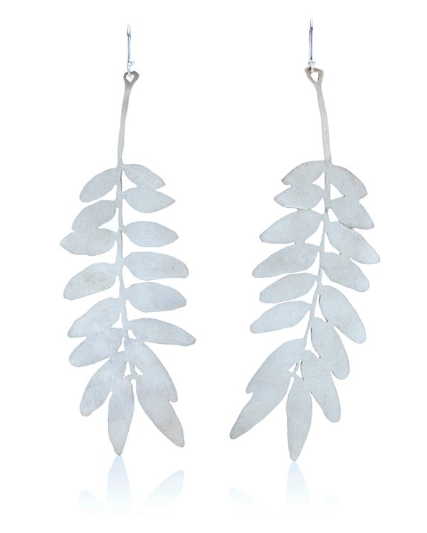 Image of Long honey locust leaf earrings