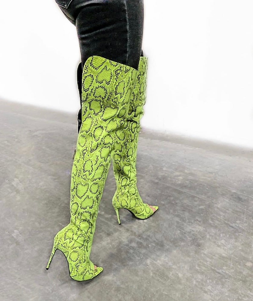 Image of Attention Seeker Thigh High Boots (Snakeskin LIME)