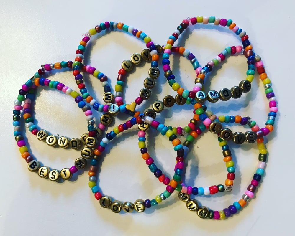 Image of Bracelet elastiqué perles de rocailles