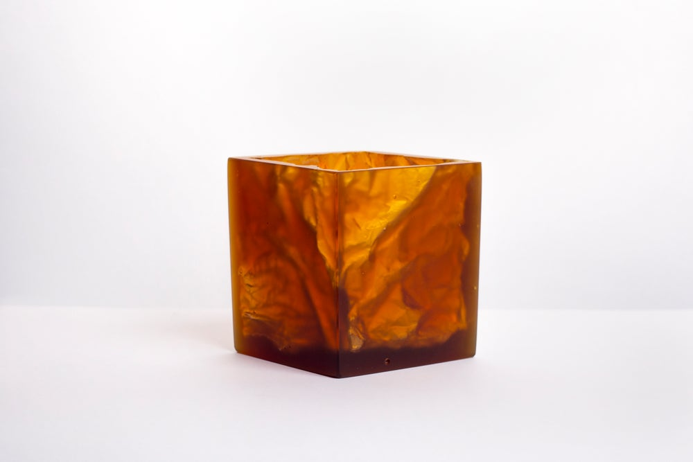 Image of Crumpled Paper Vessel. Cast Glass homeware