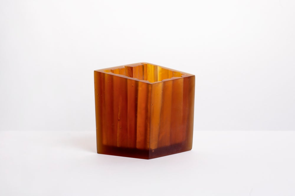 Image of Concertina Paper Vessel. Cast Glass homeware