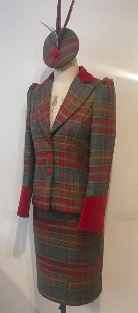 Image of Tweed and velvet bustle jacket