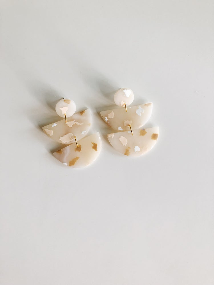 Image of Nude Terrazzo Half Moon earrings