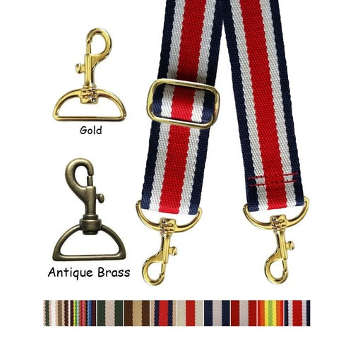 "Image of Striped Color Canvas Webbing Strap - Adjustable - 1.5"" Wide - Choose Style, Length & Gold Finish #19"