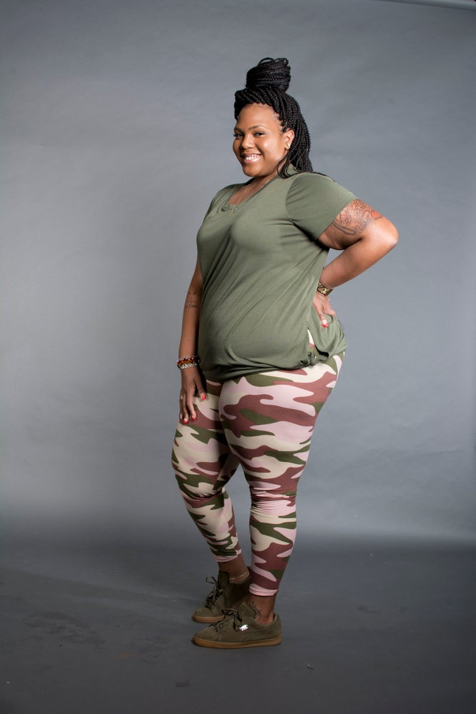 Image of Plus Camo Leggings (pink and gray)