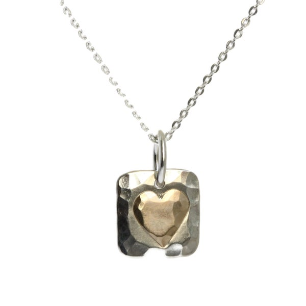 Image of Silver square hammered pendant with gold heart