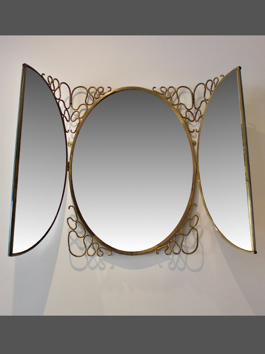 Image of Italian Folding Wall Mirror, 1950s