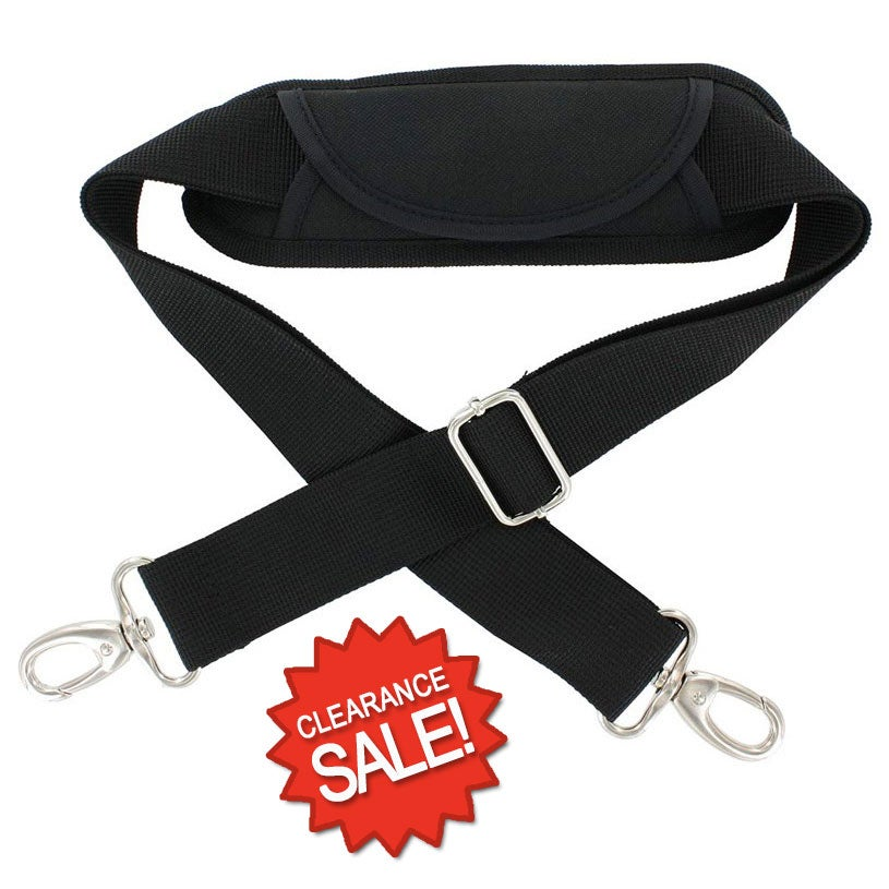 Image of Black PolyPropylene Adjustable Shoulder Strap with Shoulder Pad - Nickel Snap Hooks - Clearance
