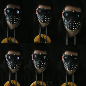Image of 25 Emoji LED Light Faces Watch Dogs 2 Mask Marcus Wrench Rivet Cosplay Mask