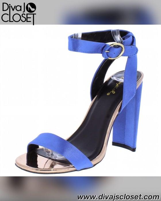 Image of Blue Open Toe Heels