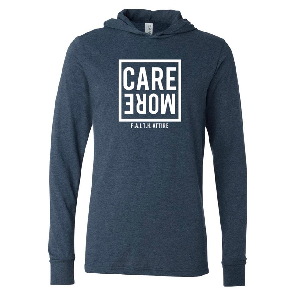 "Image of ""Care More"" Heather Navy Hooded Long Sleeve"