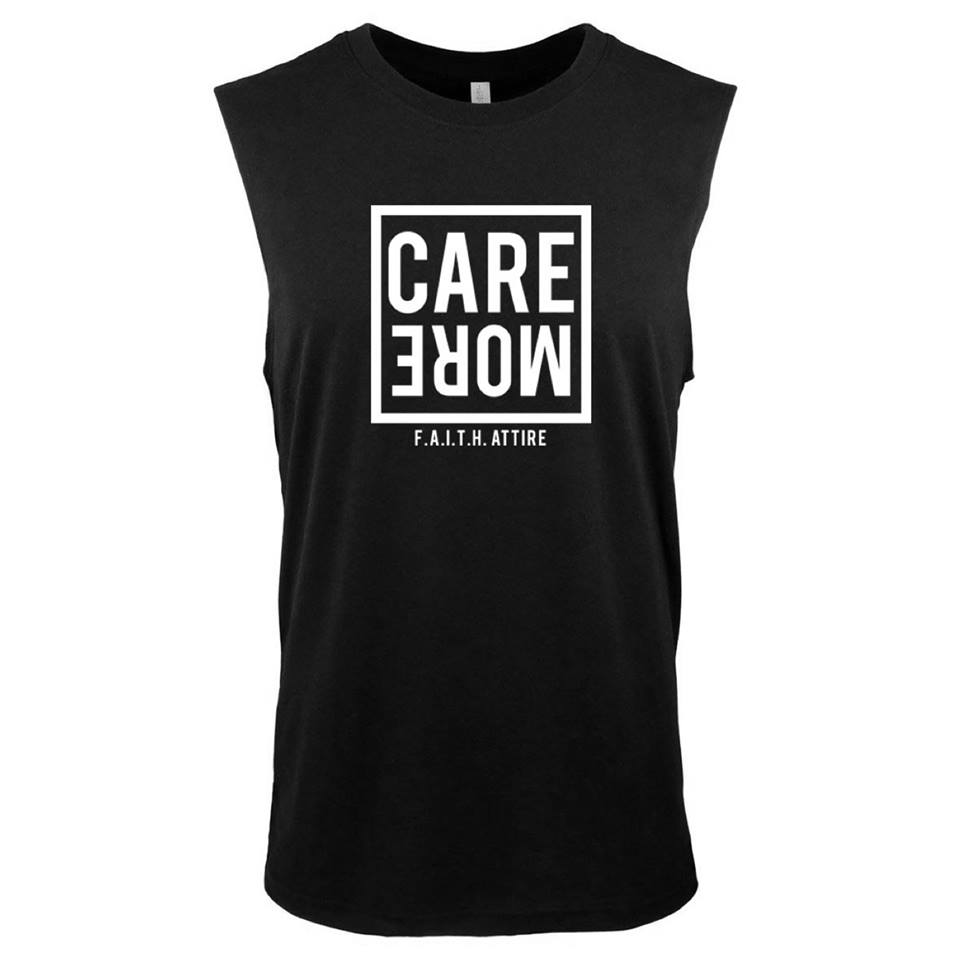 "Image of ""Care More"" Black Muscle Tank"