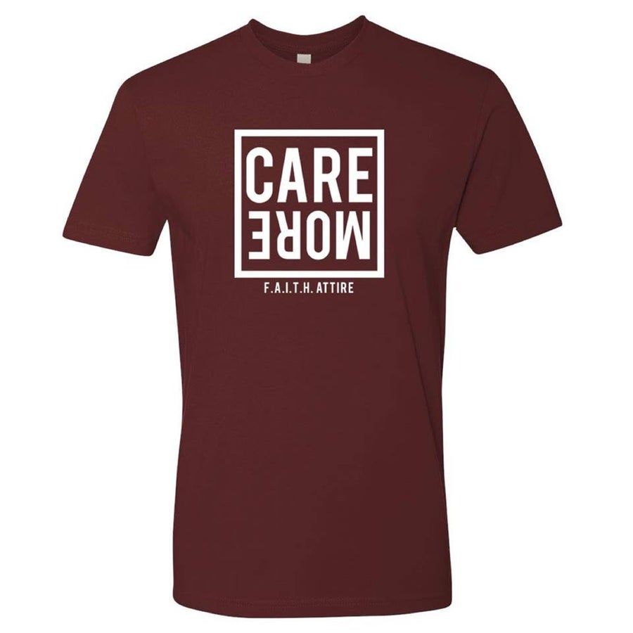 "Image of ""Care More"" Maroon Tee"